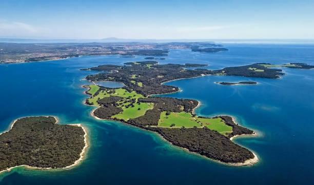 Luftaufnahme des einsamen Inseln, Brijuni Park, Kroatien – Foto