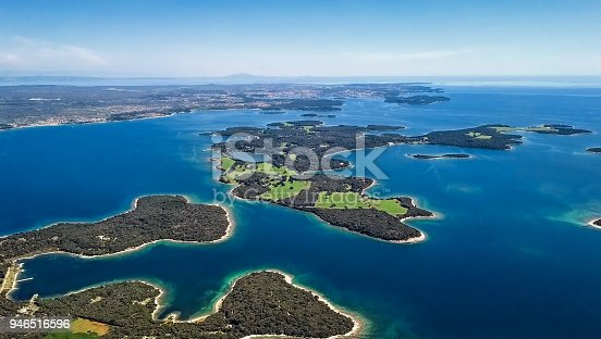 istock Aerial view of desert islands, Brijuni park, Croatia 946516596