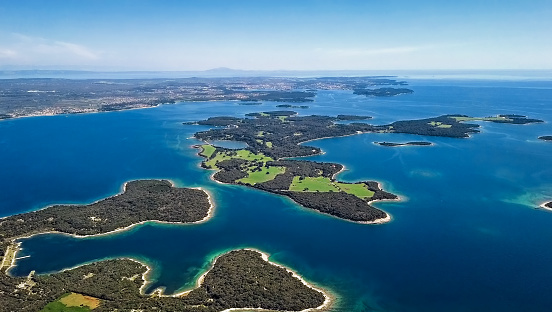 istock Aerial view of desert islands, Brijuni park, Croatia 946516596
