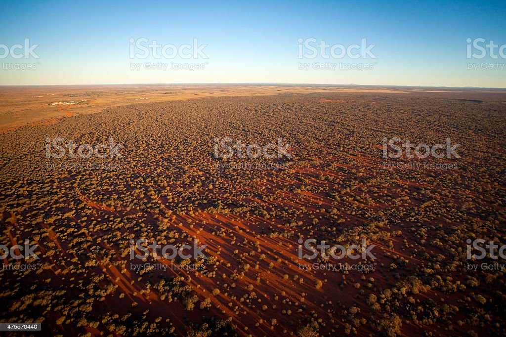 Aerial View of Desert Outback Australia at Sunset stock photo