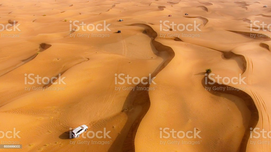 Aerial View of Desert safari stock photo