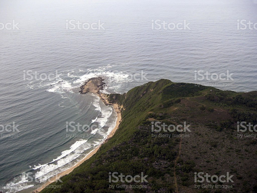 Aerial view of deserted coastline royalty-free stock photo