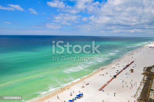 Drone Aerial View of Destin Florida FL White Sand Beach