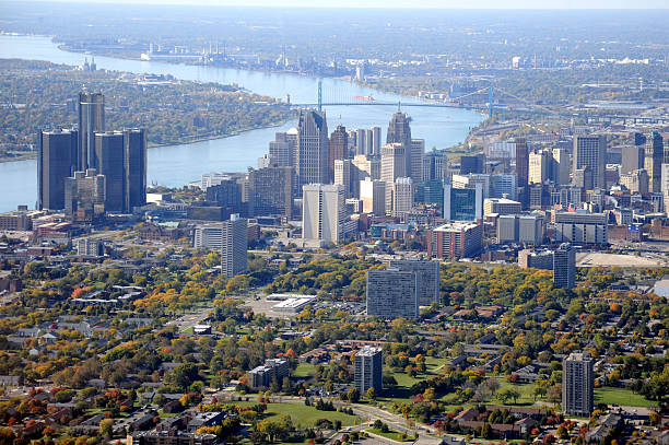Aerial View of Detroit, Michigan USA Aerial view of Detroit, Michigan, on the Detroit River, looking south.  detroit michigan stock pictures, royalty-free photos & images