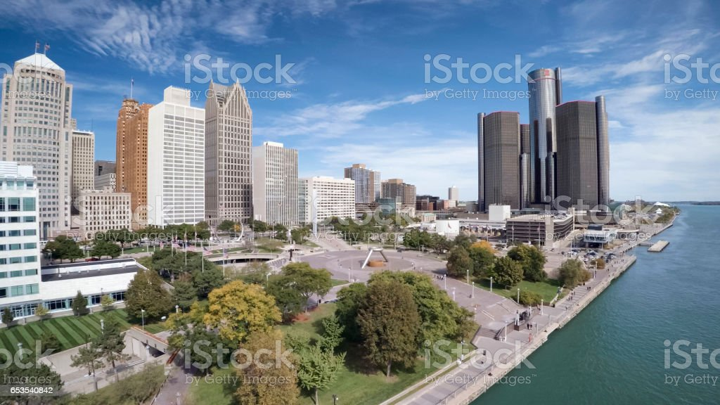 Aerial view of Detroit stock photo