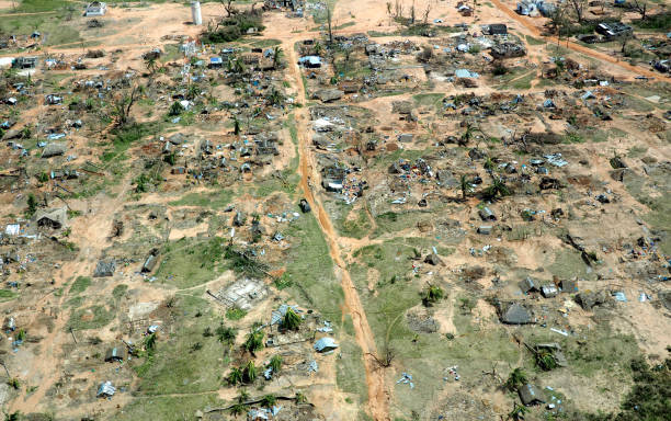 Aerial view of devastated fishing village after Cyclone Kenneth in northern Mozambique. stock photo