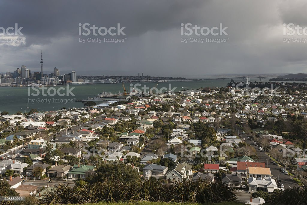 aerial view of Devonport and Auckland, New Zealand stock photo