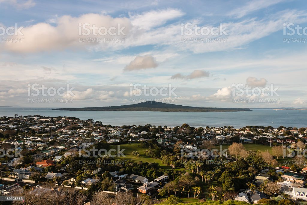 aerial view of Devonport suburb, Auckland stock photo