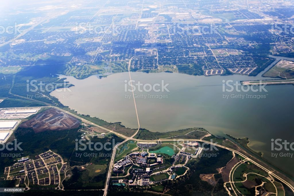 aerial view of DFW from a plane post hurricane Harvey stock photo