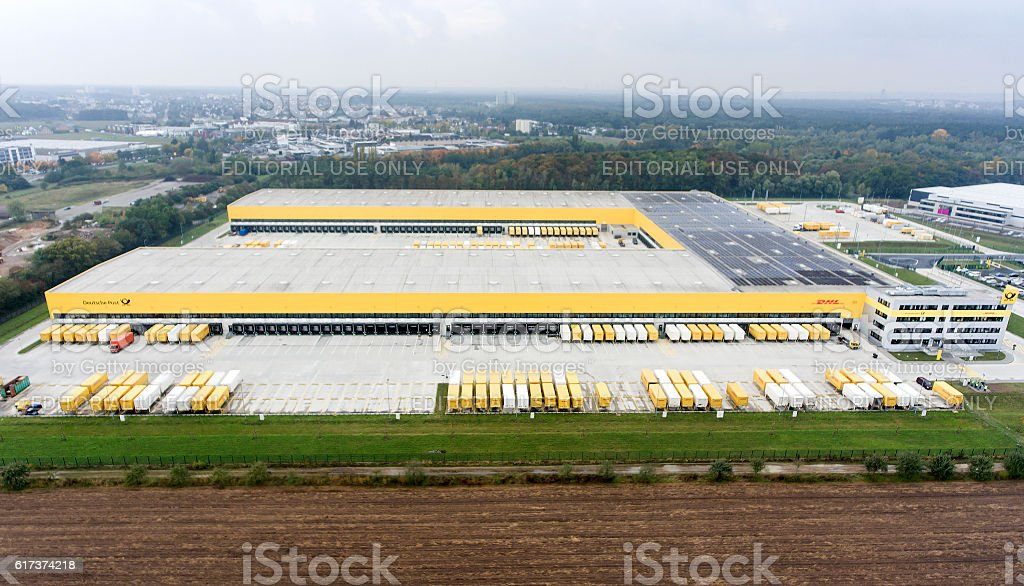 Aerial view of DHL/Deutsche Post distribution hub Obertshausen stock photo