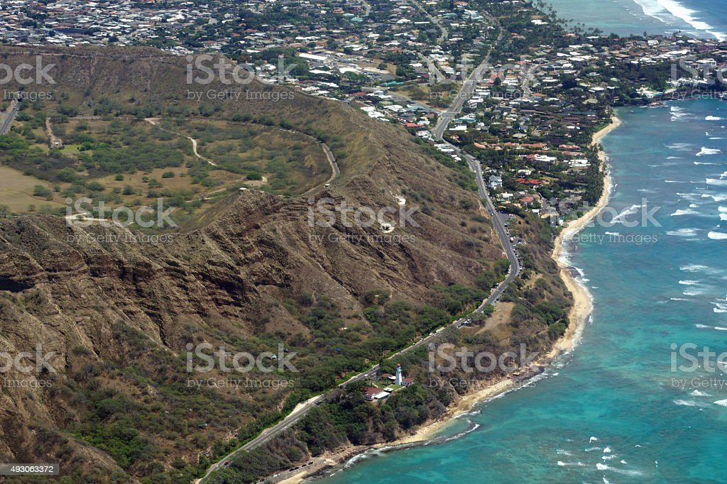 Aerial view of Diamond Head Crater, and Kahala on Oahu stock photo