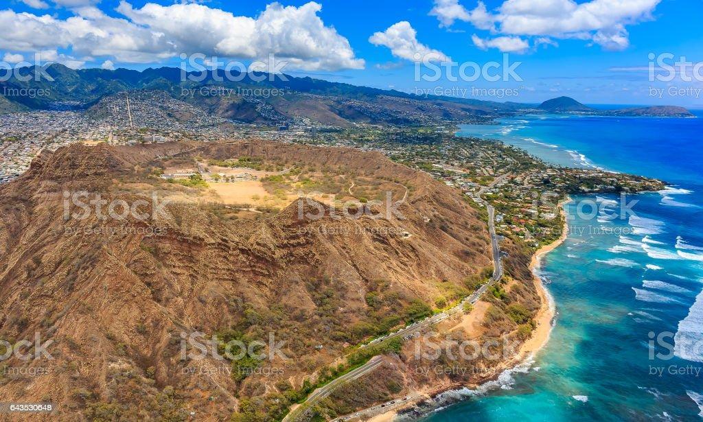 Aerial view of Diamond Head volcano crater in Honolulu Hawaii stock photo