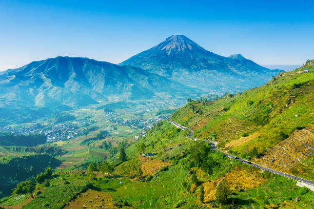 Aerial view of Dieng Plateau with Mount Sindoro stock photo