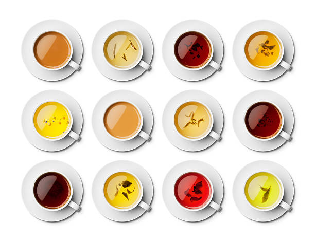 Aerial view of different types of tea, with leaves in some stock photo