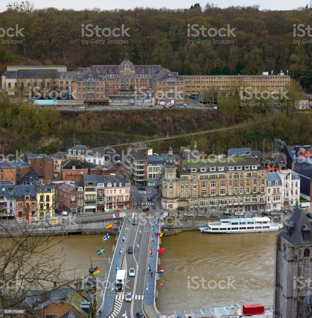 Aerial view of Dinant, Belgium centre. Bridge on river Meuse stock photo