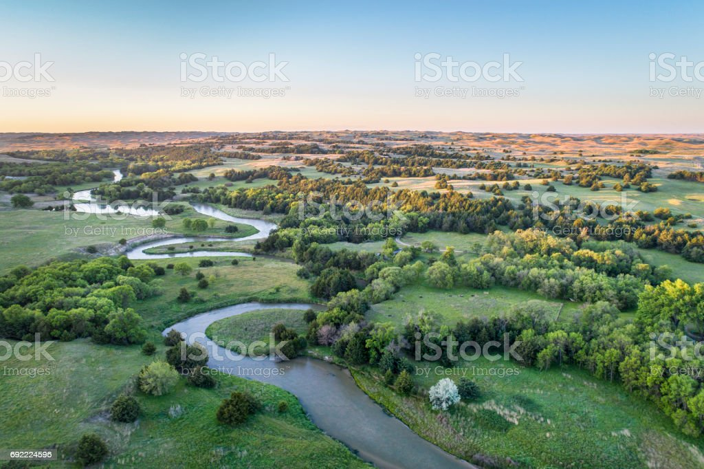 aerial view of Dismal River in Nebraska stock photo