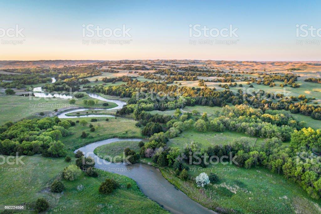 Luftaufnahme des Dismal River in Nebraska – Foto