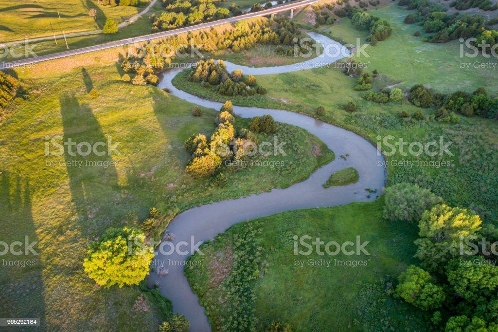 aerial view of Dismal River in Nebraska zbiór zdjęć royalty-free