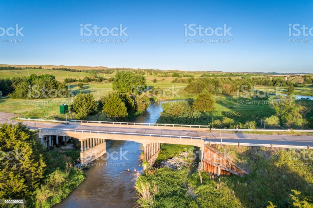 aerial view of Dismal River in Nebraska royalty-free stock photo