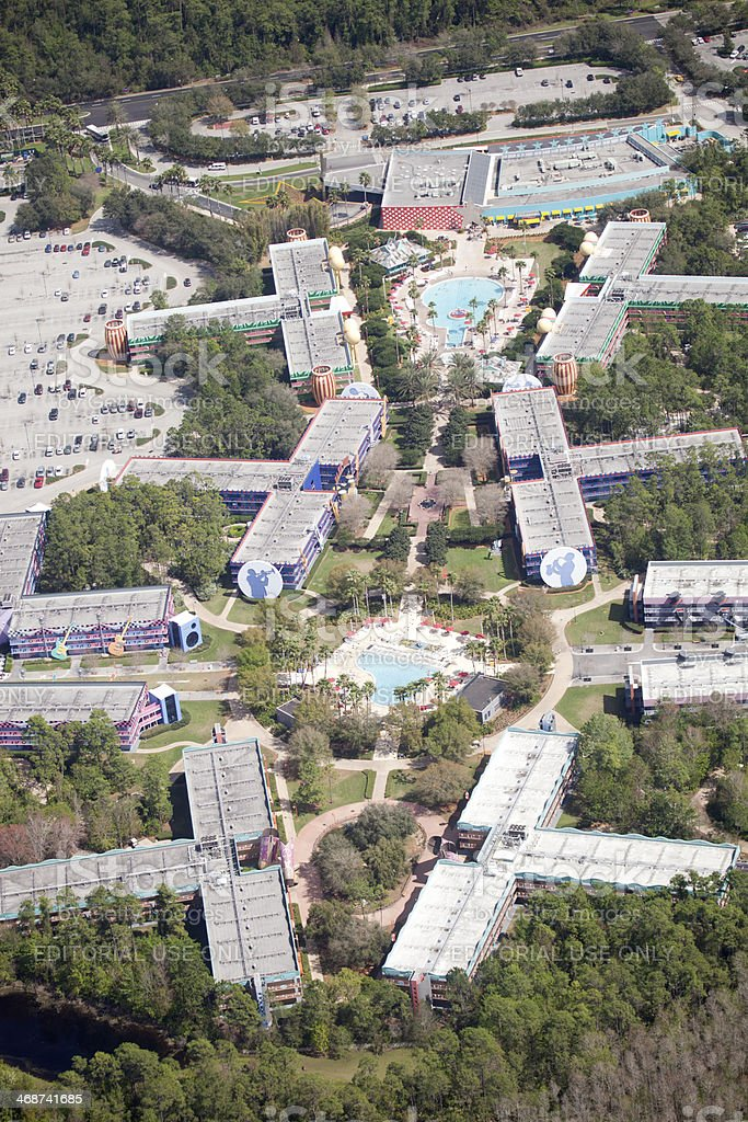 Aerial View of Disney's All Star Music Resort. stock photo