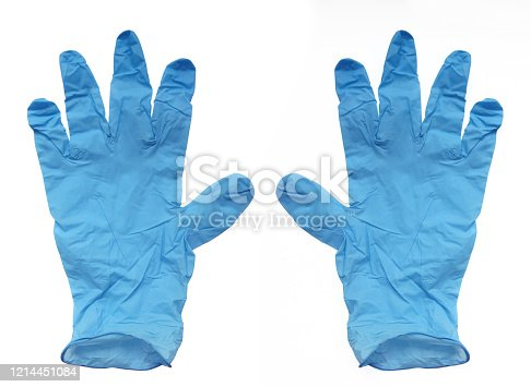 Aerial view of disposable surgical gloves in blue latex, thin to the touch and resistant isolated on white background. Protection against harmful substances, viruses and food handling.