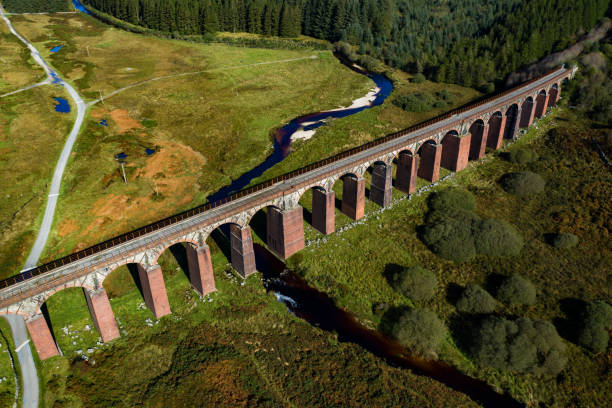 Aerial view of disused railway viaduct stock photo