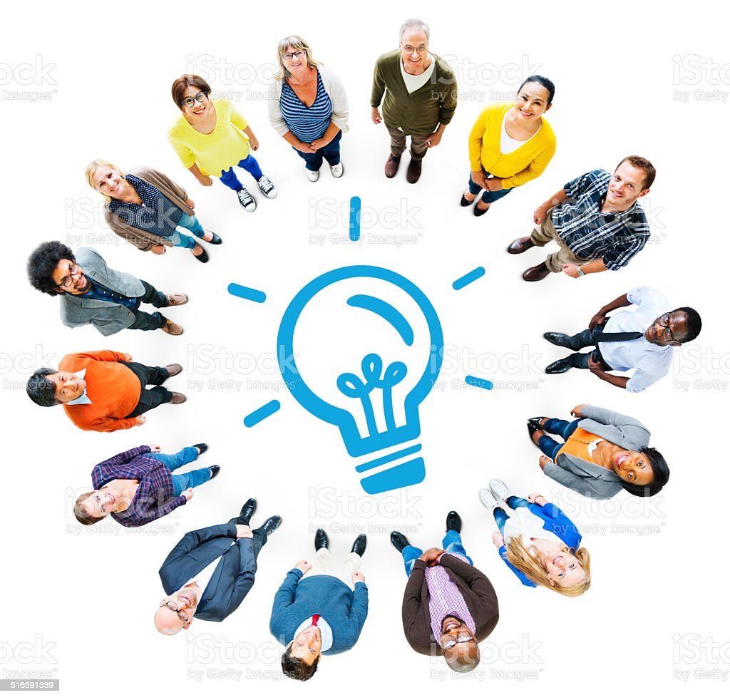 Aerial View of Diverse People and Light Bulb Symbol stock photo