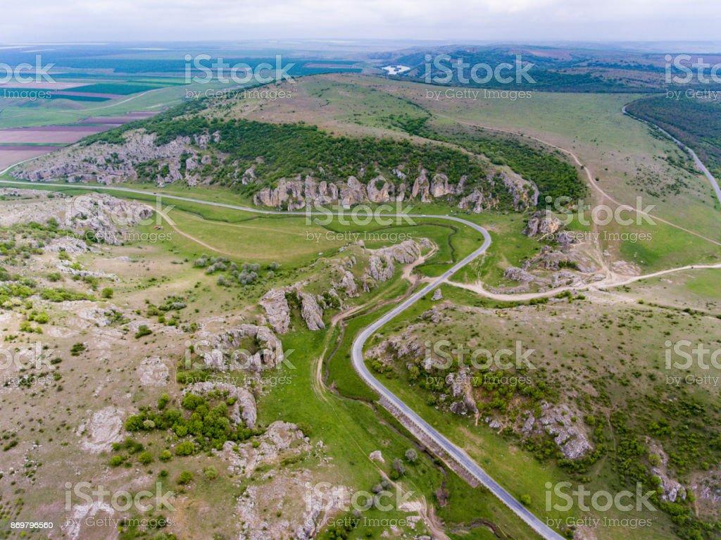 Aerial view of Dobrogea Gorges near Delta Dunari and Constanta Romania stock photo