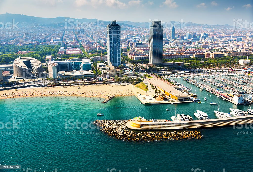 aerial view of docked yachts in Port. Barcelona stock photo