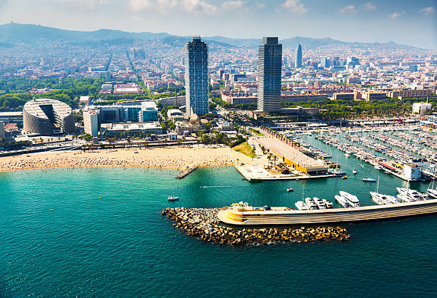 aerial view of docked yachts in Port. Barcelona - foto de stock