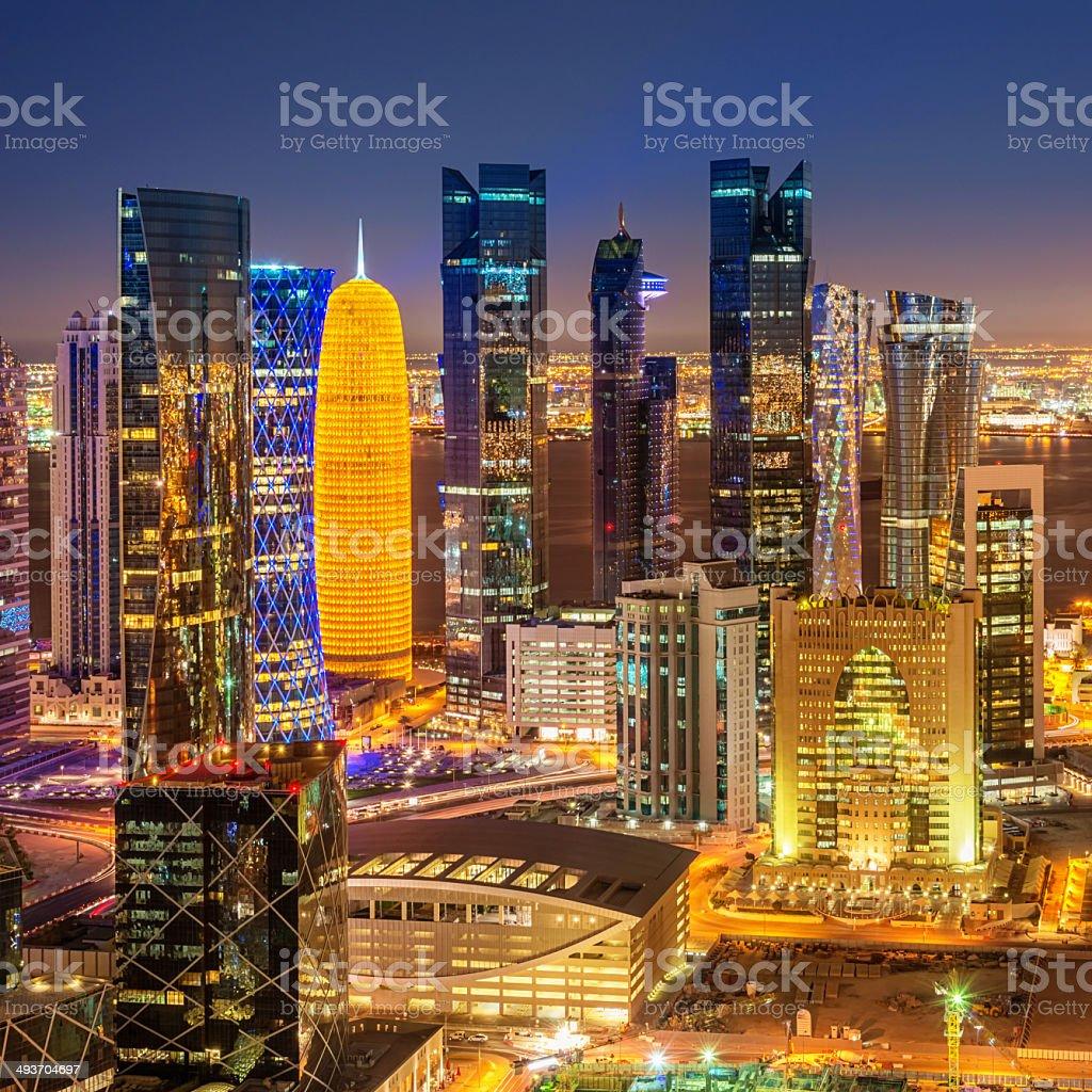 Aerial View of Doha City Skyline Qatar stock photo