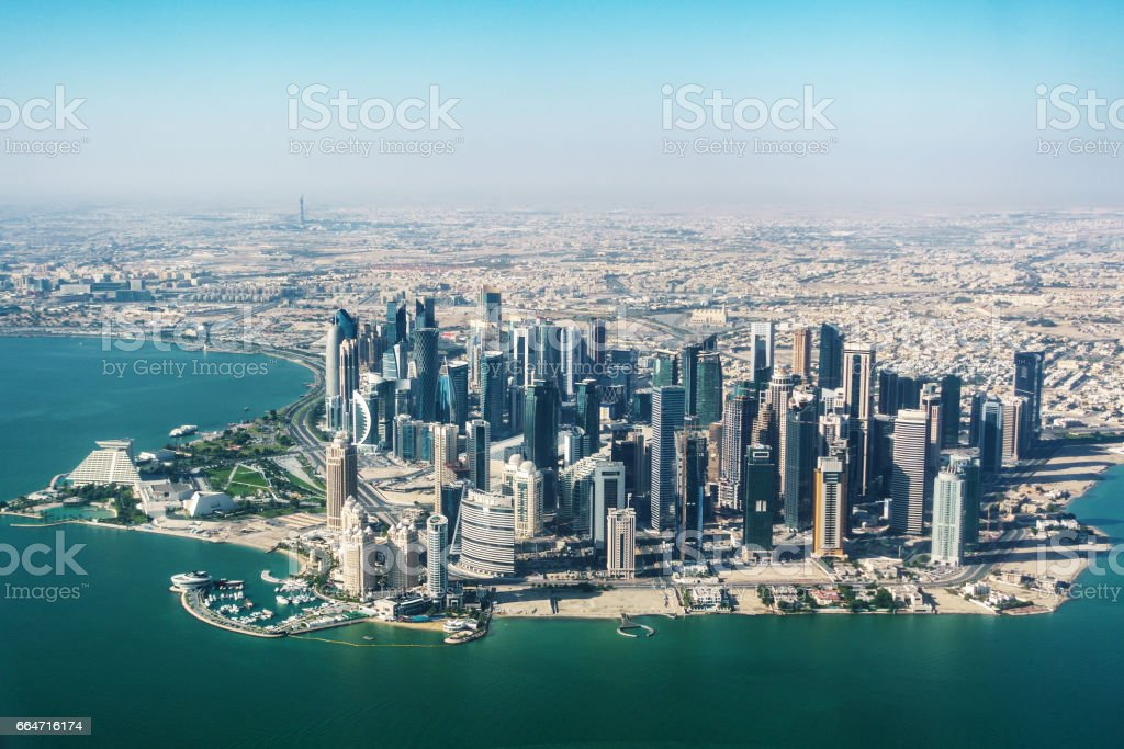 Aerial view of Doha stock photo