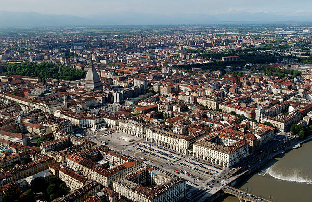Aerial view of down town Turin, near Po river stock photo