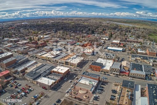 Aerial View of Downtown Alamosa and Train Station in Spring