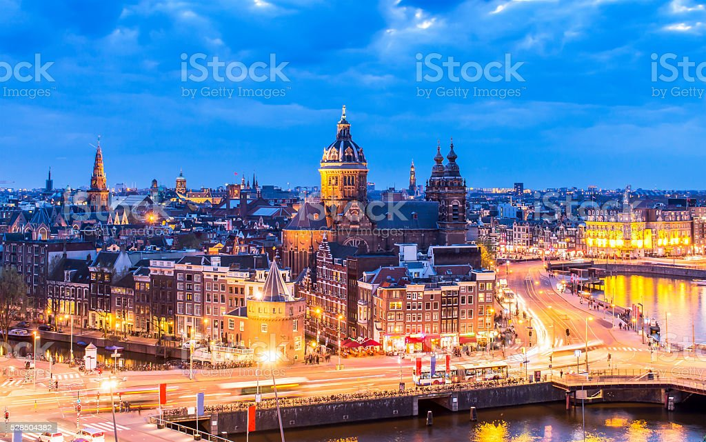 Aerial view of downtown Amsterdam stock photo
