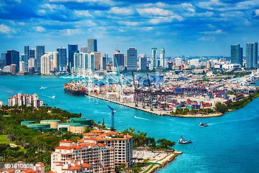 istock Aerial View of Downtown and the Port of Miami Dade 691610802