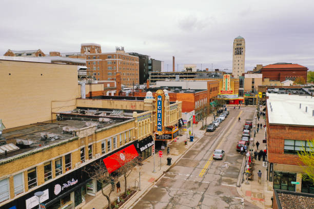 Aerial view of Downtown Ann Arbor Michigan Aerial view of Downtown Ann Arbor Michigan ann arbor stock pictures, royalty-free photos & images
