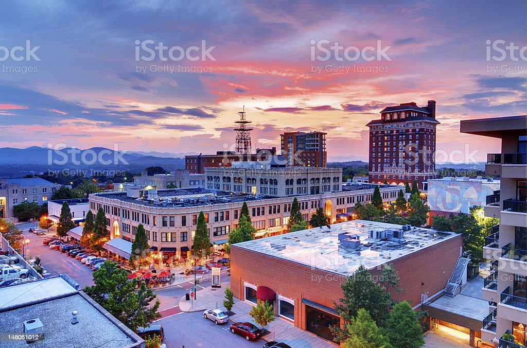 Aerial view of downtown Asheville at sunrise stock photo