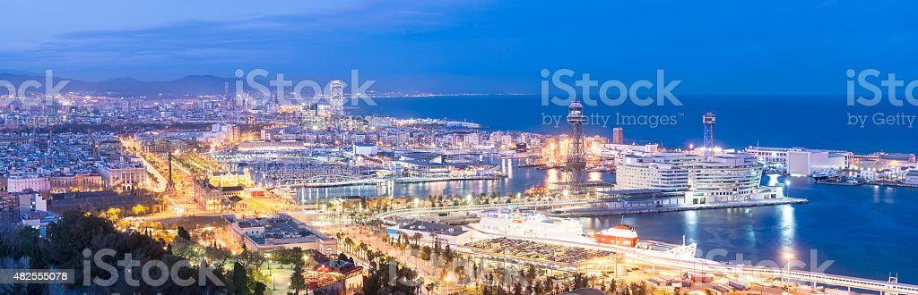 Aerial View of Downtown Barcelona Spain at twilight stock photo