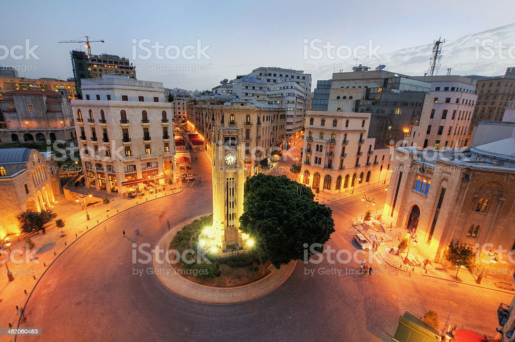Aerial view of downtown Beirut, Lebanon at dusk stock photo