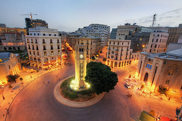 Aerial view of downtown Beirut, Lebanon at dusk Downtown Beirut, Lebanon beirut stock pictures, royalty-free photos & images