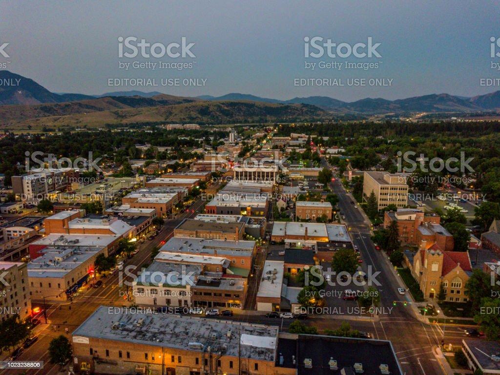 Aerial view of downtown Bozeman at twilight stock photo