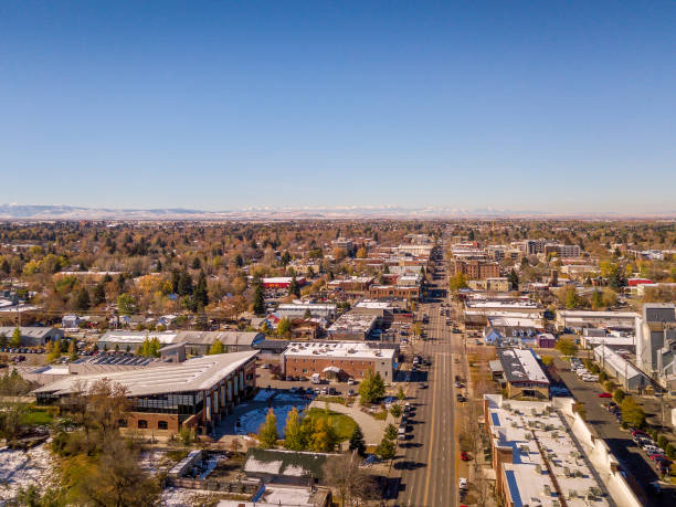 Aerial View of Downtown Bozeman Montana in Autumn stock photo
