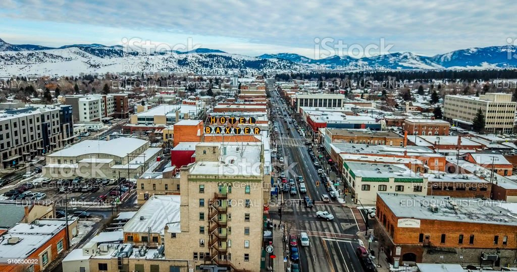 Aerial View of Downtown Bozeman with Baxter Hotel stock photo