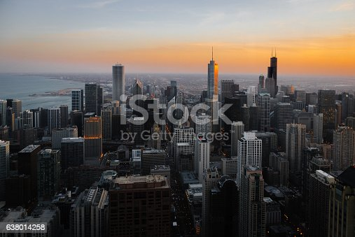Elevated view of downtown Chicago on a cold Winter evening, looking South.