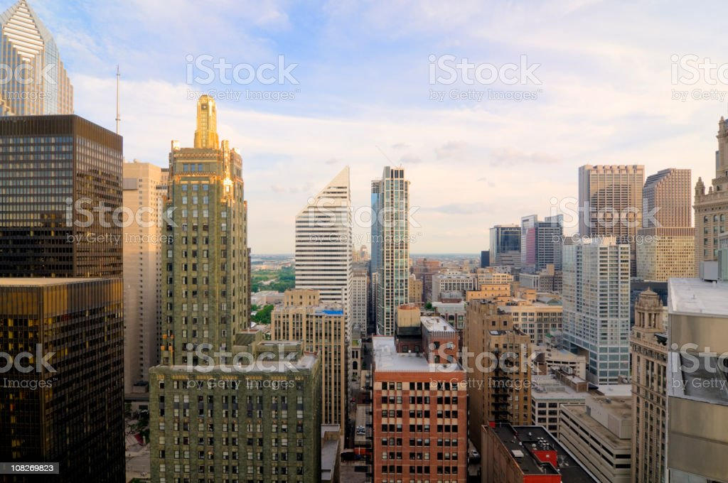 Aerial View of Downtown Chicago Buildings royalty-free stock photo