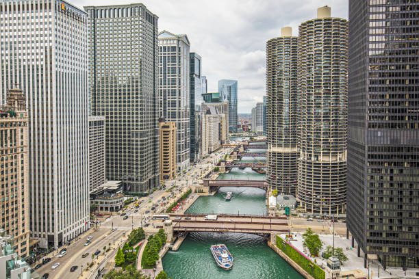aerial view of downtown chicago river - international landmark stock photos and pictures