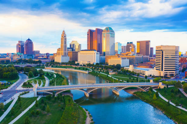 Aerial view of Downtown Columbus Ohio with Scioto river stock photo