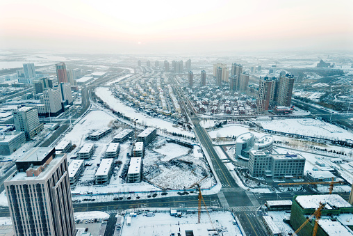 Aerial view of downtown district in winter.