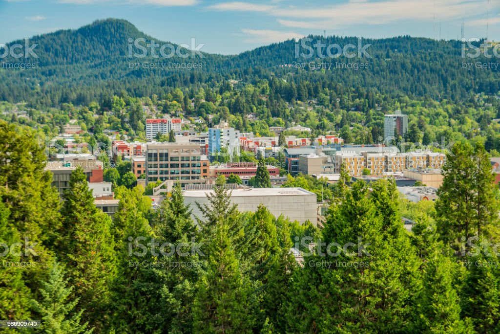 Aerial view of downtown Eugene Oregon stock photo